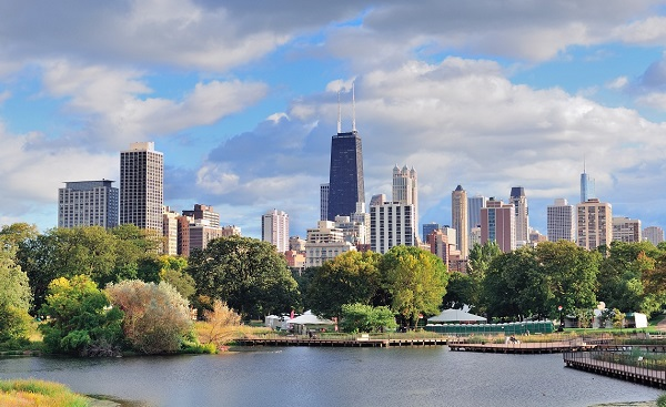 CHI-MARATHON Chicago skyline with skyscrapers viewed from Lincoln Park over lake shutterstock 92169874