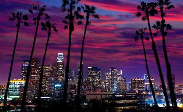 HARLEY-PANAMERICANA-SEA-LA Los Angeles Downtown sunset 155452709